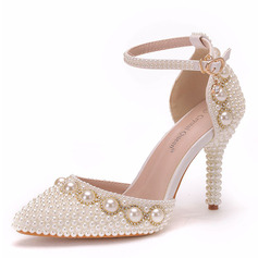 Women's Leatherette Stiletto Heel Closed Toe Pumps With Buckle Imitation Pearl