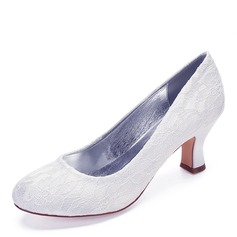 Women's Lace Chunky Heel Closed Toe With Stitching Lace