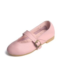 Girl's Leatherette Flat Heel Closed Toe Flats With Buckle