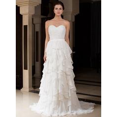 A-Line/Princess Sweetheart Sweep Train Charmeuse Wedding Dress With Beading Cascading Ruffles
