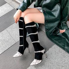 Frauen Kunstleder Stöckel Absatz Stiefel-Wadenlang mit Schnalle Tierdruckmuster Schuhe