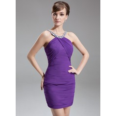 Sheath/Column Scoop Neck Short/Mini Chiffon Cocktail Dress With Ruffle Beading