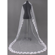 One-tier Chapel Bridal Veils With Lace Applique Edge (006002242)