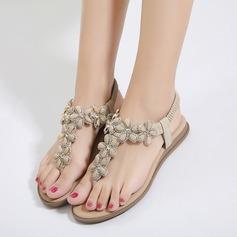 Kvinder Kunstlæder Flad Hæl Flip Floppere sandaler Beach Wedding Shoes med Imiteret Pearl Rhinsten
