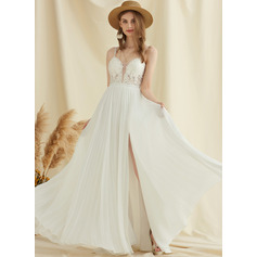 A-Line V-neck Sweep Train Chiffon Lace Wedding Dress With Split Front
