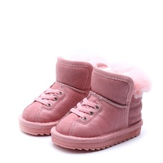 девичий Закрытый мыс Зимние сапоги замша Плоский каблук Ботинки с Шнуровка