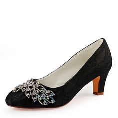 Women's Lace Silk Like Satin Stiletto Heel Closed Toe Pumps With Crystal