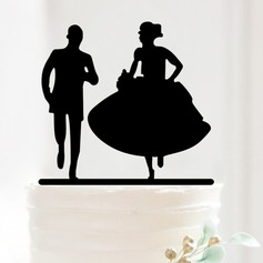 Running Couple Acrylic Wedding Cake Topper