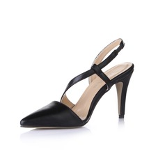 Leatherette Cone Heel Pumps Closed Toe Slingbacks shoes
