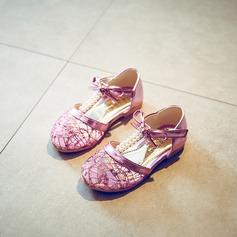 Fille de similicuir talon plat Bout fermé Chaussures plates avec Velcro Ouvertes