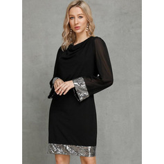 Sheath/Column Cowl Neck Knee-Length Polyester Cotton Cocktail Dress With Sequins