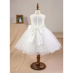 Plesové Po kolena Flower Girl Dress - Satén/Tyl/Krajka Bez rukávů Scoop Neck S Luk (010094093)