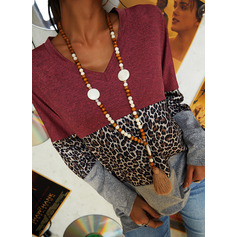 Leopard Color Block V-Neck Long Sleeves Casual Blouses (1003254083)