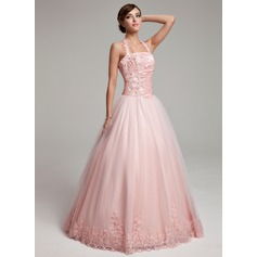 Ball-Gown Halter Floor-Length Tulle Prom Dress With Ruffle Beading Appliques Lace