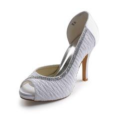 Frauen Satin Kegel Absatz Peep Toe Plateauschuh Sandalen mit Perlen Strass