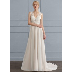 Corte A/Princesa Escote en V Barrer/Cepillo tren Gasa Vestido de novia