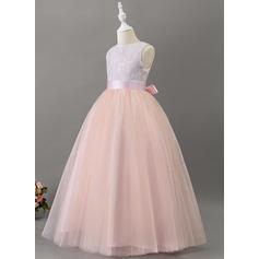 Ball-Gown/Princess Floor-length Flower Girl Dress - Satin/Tulle/Lace Sleeveless Scoop Neck