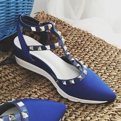 De mujer Satén Tipo de tacón Cuñas con Rivet zapatos