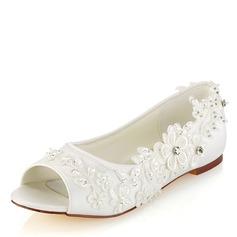 Kvinnor Plast Flat Heel Öppen tå med Glittrande Glitter Applikationer