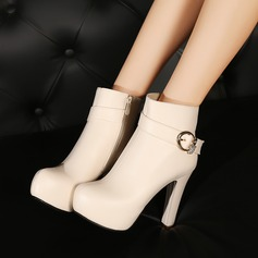 Naisten Keinonahasta Chunky heel Avokkaat Platform Kengät Nilkkurit jossa Tekojalokivi Solki Vetoketju kengät