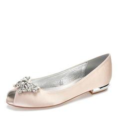 Women's Silk Like Satin Flat Heel Peep Toe With Bowknot Rhinestone