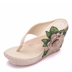 Kvinder Stof Kile Hæl Lukket Tå Flip Floppere sandaler Kiler med Blomst Tassel Applikation