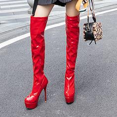 Vrouwen Kunstleer Patent Leather Stiletto Heel Pumps Plateau Laarzen Over De Knie Laarzen schoenen