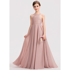 A-Line Scoop Neck Floor-Length Chiffon Lace Junior Bridesmaid Dress (009191736)