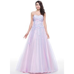 Ball-Gown Sweetheart Floor-Length Tulle Prom Dress With Beading Flower(s) Sequins