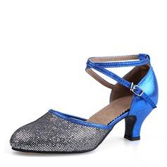 Женщины кожа Мерцающая отделка На каблуках Бальные танцы Обувь для танцев