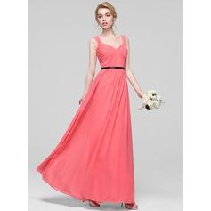 A-Line/Princess Floor-Length Chiffon Bridesmaid Dress With Ruffle Sash