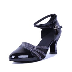 Women's Leatherette Heels Pumps Ballroom With Ankle Strap Dance Shoes