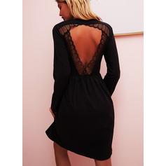 Spets Solid Shiftklänningar Långa ärmar Mini Den lilla svarta Fritids Tunika Modeklänningar (294251541)