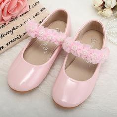 Muchacha Punta Cerrada Kunstleder Talón plano Planos Zapatos de niña de las flores con Perlas de imitación Flor