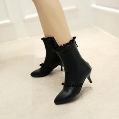 Femmes PU Talon stiletto Escarpins Bottes mi-mollets avec Plissé Zip chaussures