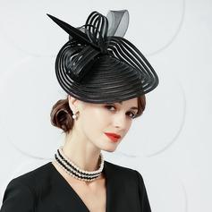 Damer' Elegant Batist med Fjäder Diskett Hat