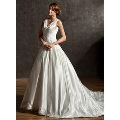 Duchesse-Linie V-Ausschnitt Kapelle-schleppe Satin Brautkleid mit Bestickt Perlen verziert Pailletten