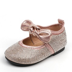 Girl's Round Toe Closed Toe Leatherette Flat Heel Flats Flower Girl Shoes With Bowknot Crystal