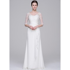 Sheath/Column V-neck Floor-Length Chiffon Wedding Dress With Beading Sequins Cascading Ruffles (002071532)