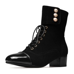 Kvinnor Mocka Konstläder Låg Klack Stängt Toe Stövlar Boots Halva Vaden Stövlar Martin Stövlar Ridstövlar med Oäkta Pearl Bandage skor