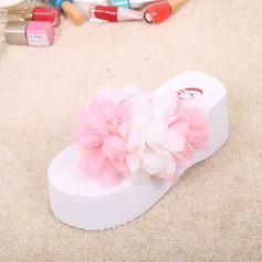Kvinnor Sammet Kilklack Kilar Tofflor med Strass Blomma skor