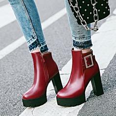 Femmes PU Talon bottier Escarpins Plateforme Bottines avec Boucle Zip chaussures