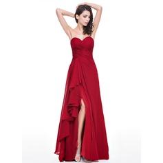Vestidos princesa/ Formato A Coração Longos De chiffon Vestido de festa com Babados em cascata