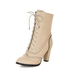 Kunstleder Stämmiger Absatz Stiefelette mit Zuschnüren Schuhe