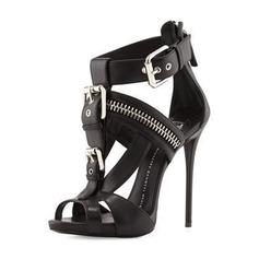 Donna PU Tacco a spillo Sandalo Stiletto Punta aperta con Fibbia Cerniera scarpe