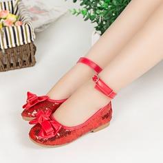 Fille de en tissu talon plat bout rond Bout fermé Chaussures plates avec Bowknot Paillette Velcro