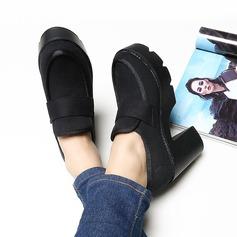 Frauen Leinwand Stämmiger Absatz Absatzschuhe Plateauschuh Geschlossene Zehe Schuhe