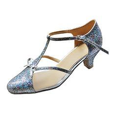 Femmes Vrai cuir Talons Escarpins Salle de bal avec Lanière en T Chaussures de danse