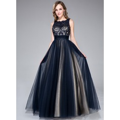 A-Line/Princess Scoop Neck Floor-Length Tulle Prom Dress With Beading Sequins Bow(s) (018046233)