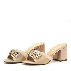 Kvinder PVC Stor Hæl sandaler Pumps Kigge Tå Slingbacks Tøfler med Rhinsten Bowknot sko